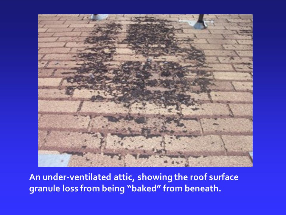 An under-ventilated attic, showing the roof surface granule loss from being baked from beneath.