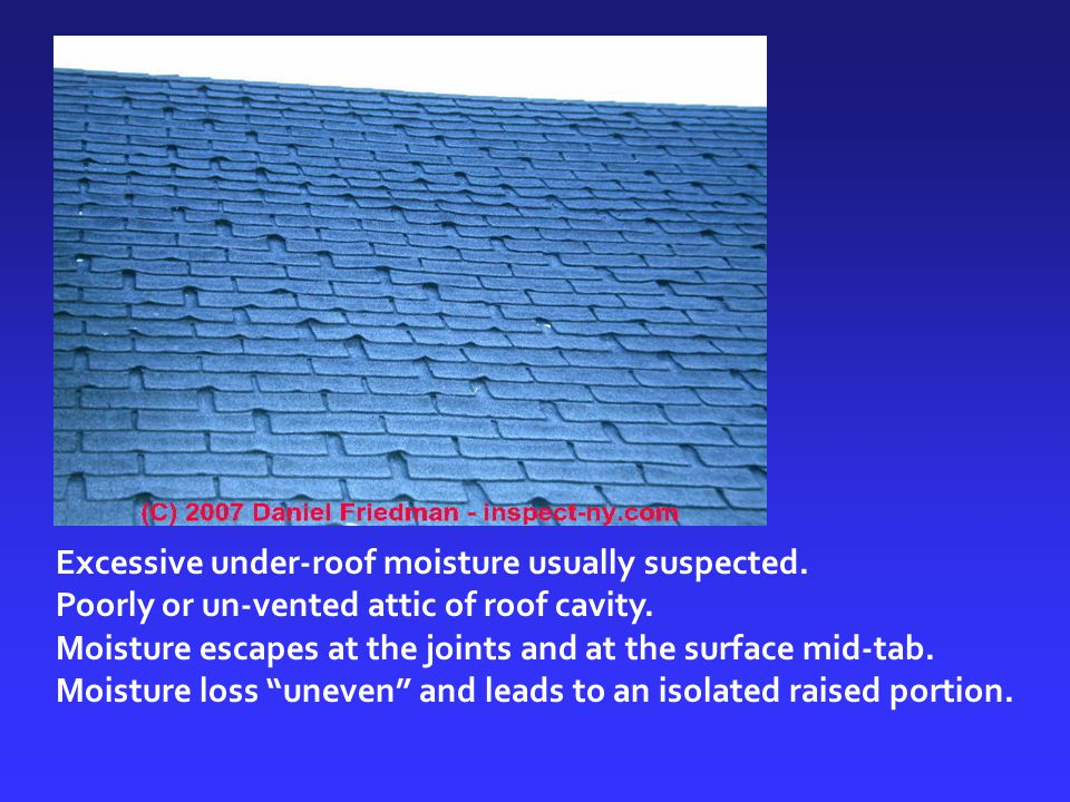 Excessive under-roof moisture usually suspected. Poorly or un-vented attic of roof cavity. Moisture escapes at the joints and at the surface mid-tab.