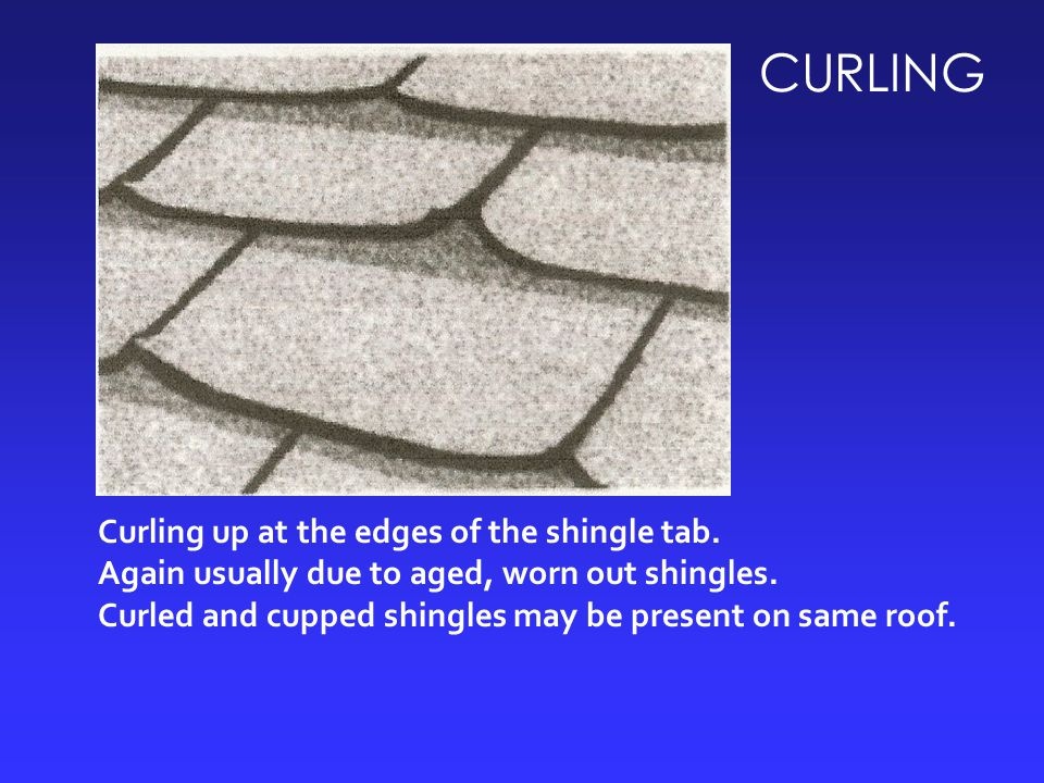 CURLING Curling up at the edges of the shingle tab.