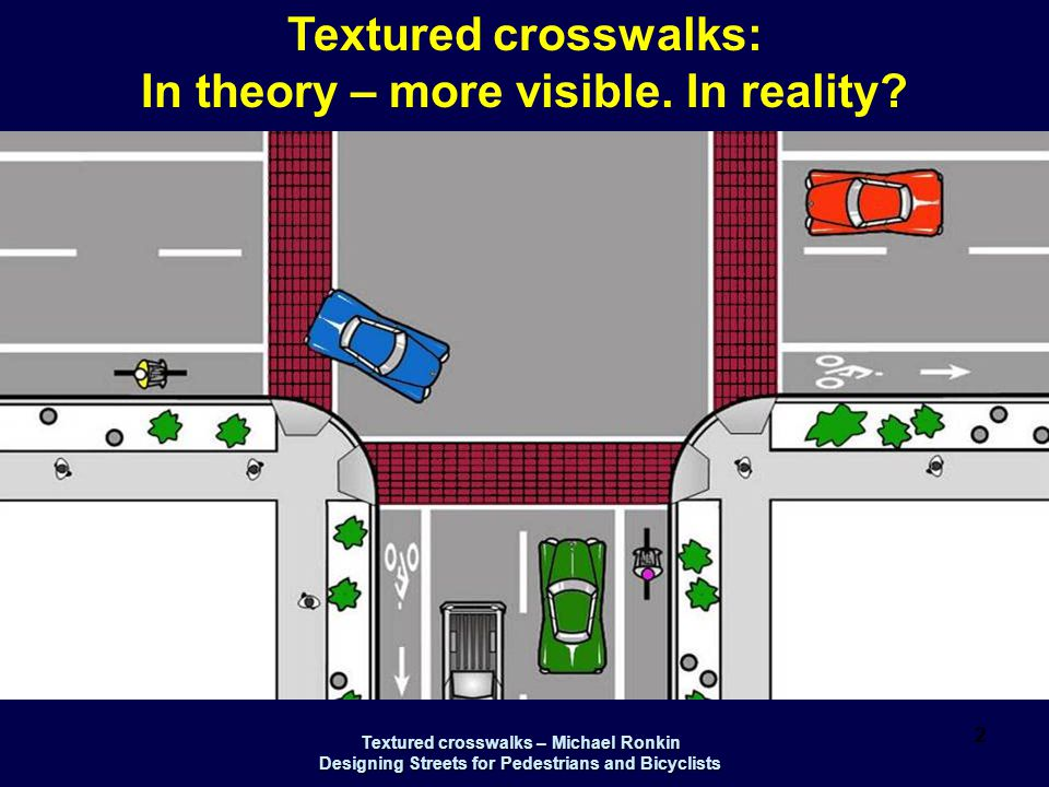 Textured crosswalks – Michael Ronkin Designing Streets for Pedestrians and Bicyclists 3 Bird's eye perspective - before