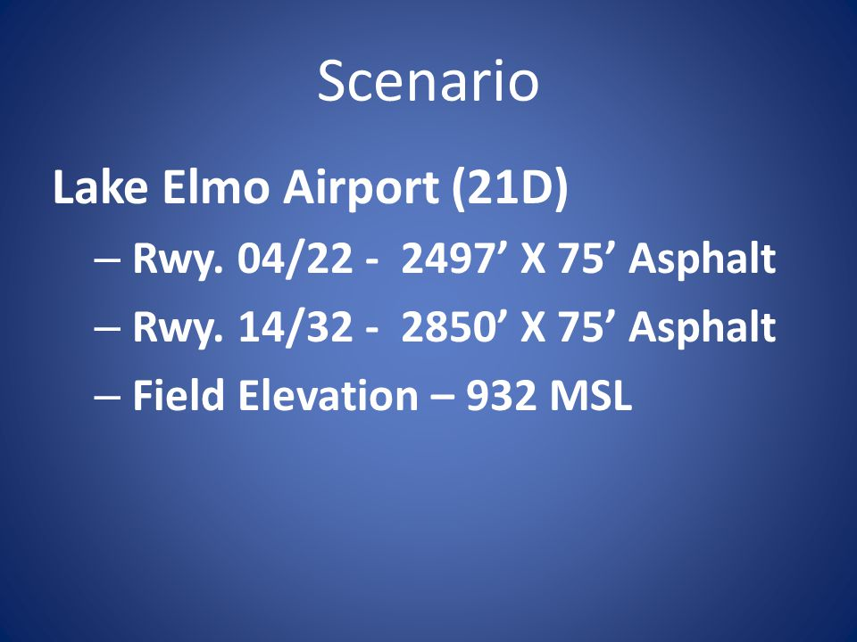 Scenario Cherokee Six – PA32-300 – Maximum Takeoff Weight (lbs) – 3400 – Normal Take-Off Performance - Take-off Distance - 1,200 Ft.