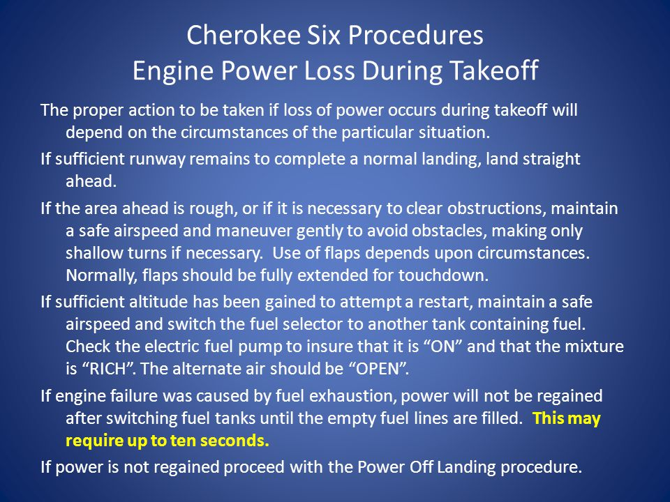 Scenario Cherokee Six Performance Landing Distance Over 50' Barrier – 1050' Landing Ground Roll (40 degree Flaps) – 675' Glide Performance with no flaps, propeller windmilling, full decrease, airspeed 87 KIAS – From 500' AGL -4,200' – From 200' AGL -1,200'