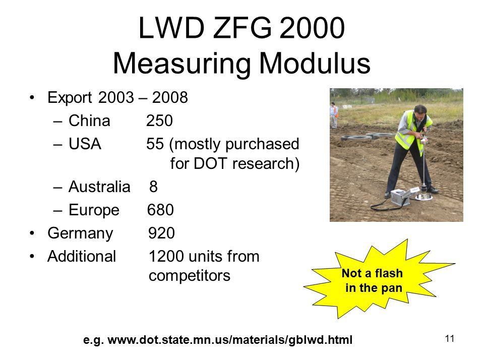 11 LWD ZFG 2000 Measuring Modulus Export 2003 – 2008 –China 250 –USA 55 (mostly purchased for DOT research) –Australia 8 –Europe 680 Germany 920 Additional 1200 units from competitors Not a flash in the pan e.g.