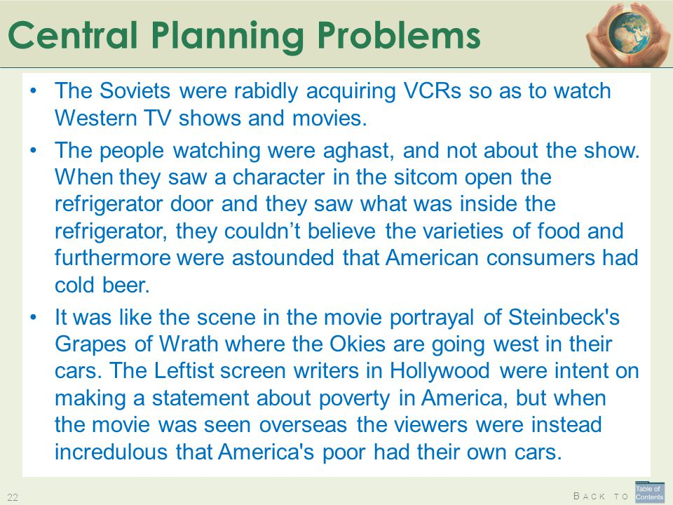 B ACK TO Central Planning Problems 22 The Soviets were rabidly acquiring VCRs so as to watch Western TV shows and movies. The people watching were agh