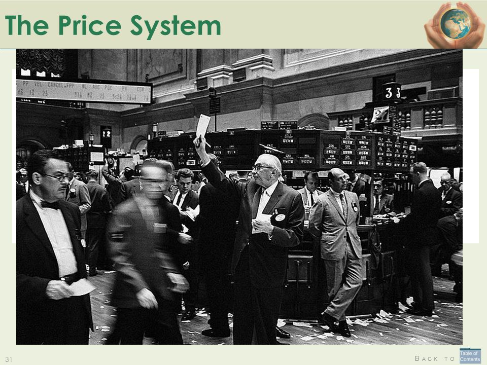 B ACK TO The Price System The Price System: The Price System: a solution where no-one (or everyone!) is responsible for allocating limited resources.