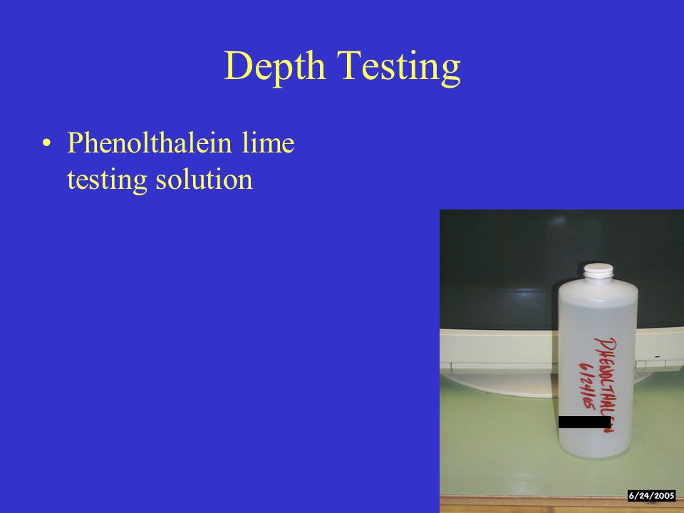 Depth Testing Phenolthalein lime testing solution