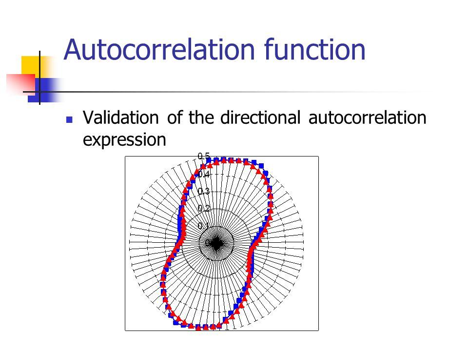 Autocorrelation function Validation of the directional autocorrelation expression