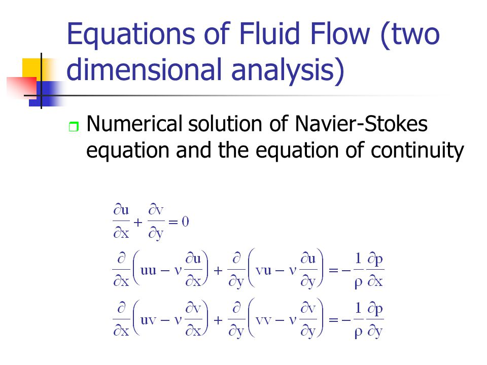 Equations of Fluid Flow (two dimensional analysis) r Numerical solution of Navier-Stokes equation and the equation of continuity