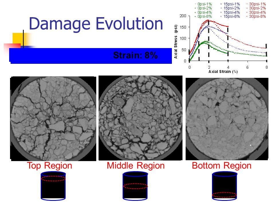 Damage Evolution Top Region Middle Region Bottom Region Strain: 0%Strain: 1%Strain: 2%Strain: 4% Strain: 8%