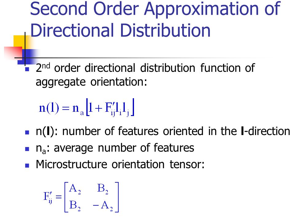 Parameters of Microstructure Distribution Tensor Tensor components: Second invariant of orientation tensor: