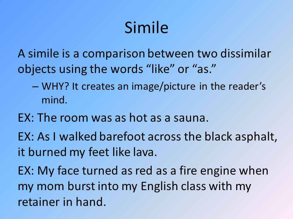 Effective similes Can someone draw what they pictured when they read As I walked barefoot across the black asphalt, it burned my feet like lava.