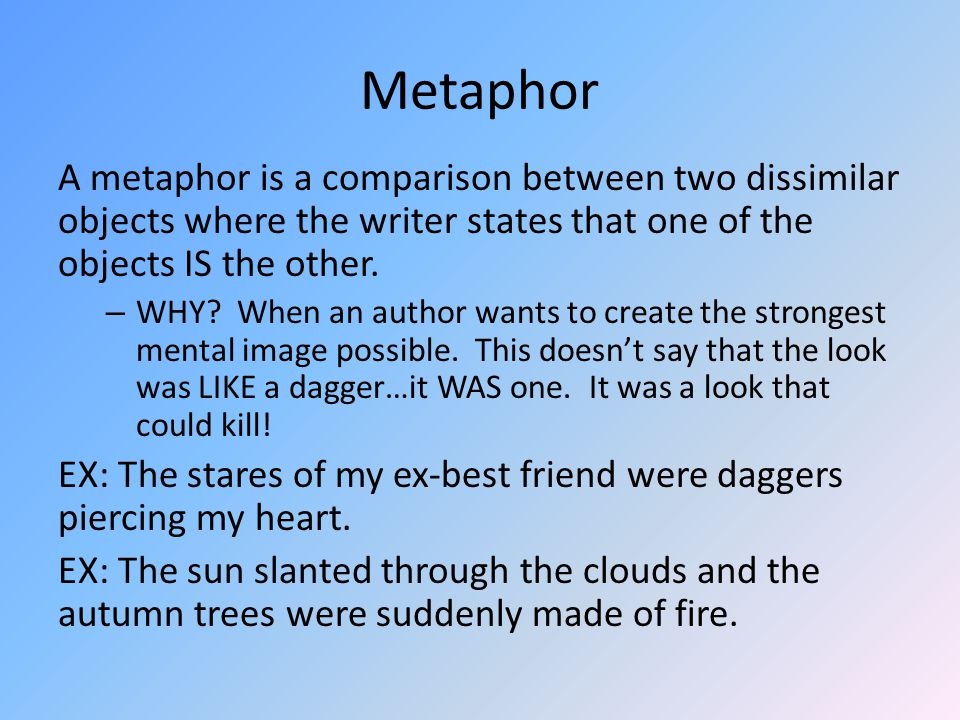 Effective metaphors Draw what you imagined when you read The sun slanted through the clouds and the autumn trees were suddenly made of fire.