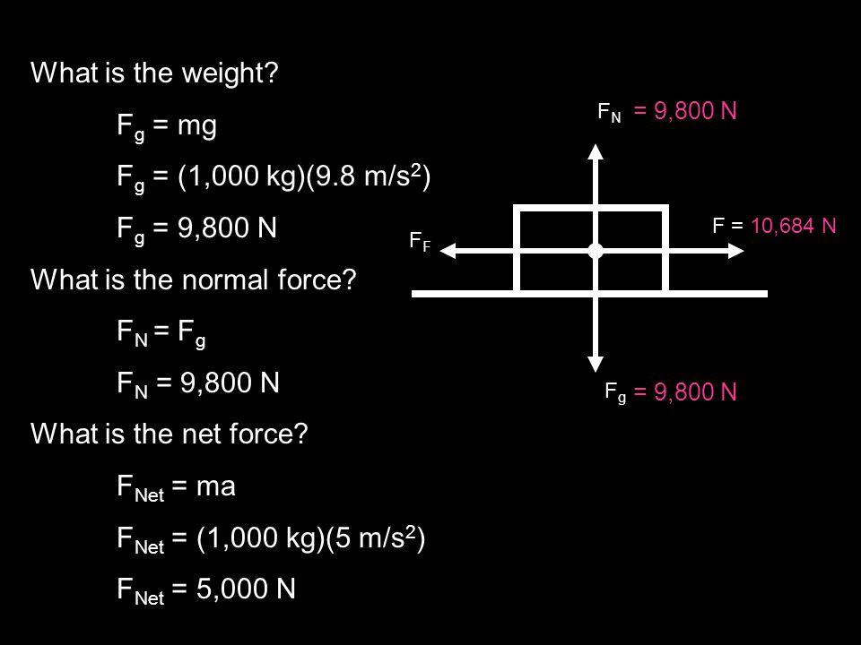 What is the weight? F g = mg F g = (1,000 kg)(9.8 m/s 2 ) F g = 9,800 N What is the normal force? F N = F g F N = 9,800 N What is the net force? F Net