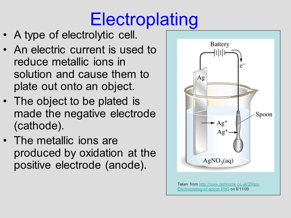Electroplating A type of electrolytic cell.