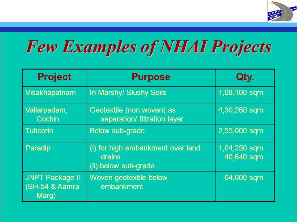 Few Examples of NHAI Projects ProjectPurposeQty. VisakhapatnamIn Marshy/ Slushy Soils1,08,100 sqm Vallarpadam, Cochin Geotextile (non woven) as separa