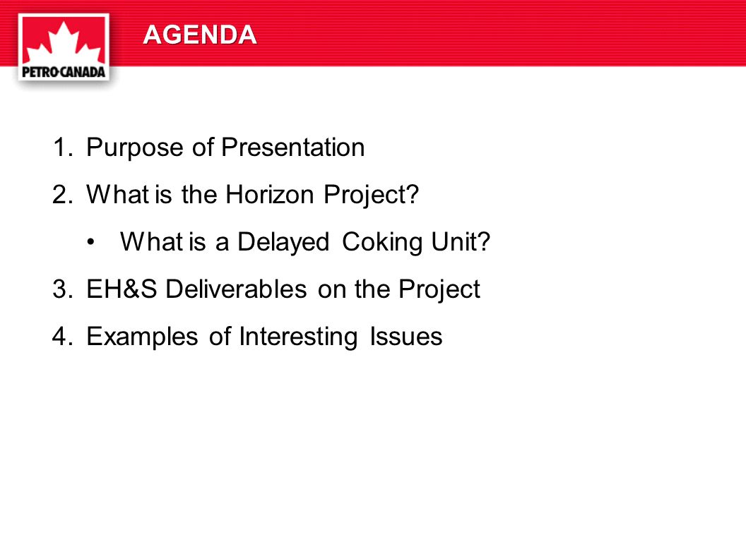 AGENDA 1.Purpose of Presentation 2.What is the Horizon Project.
