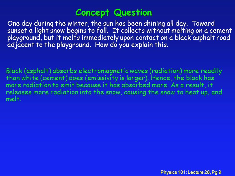 Physics 101: Lecture 28, Pg 9 Concept Question One day during the winter, the sun has been shining all day.