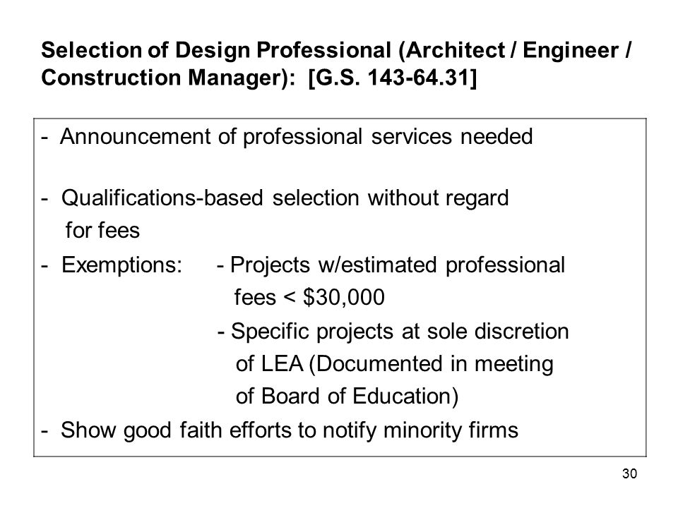 30 Selection of Design Professional (Architect / Engineer / Construction Manager): [G.S.