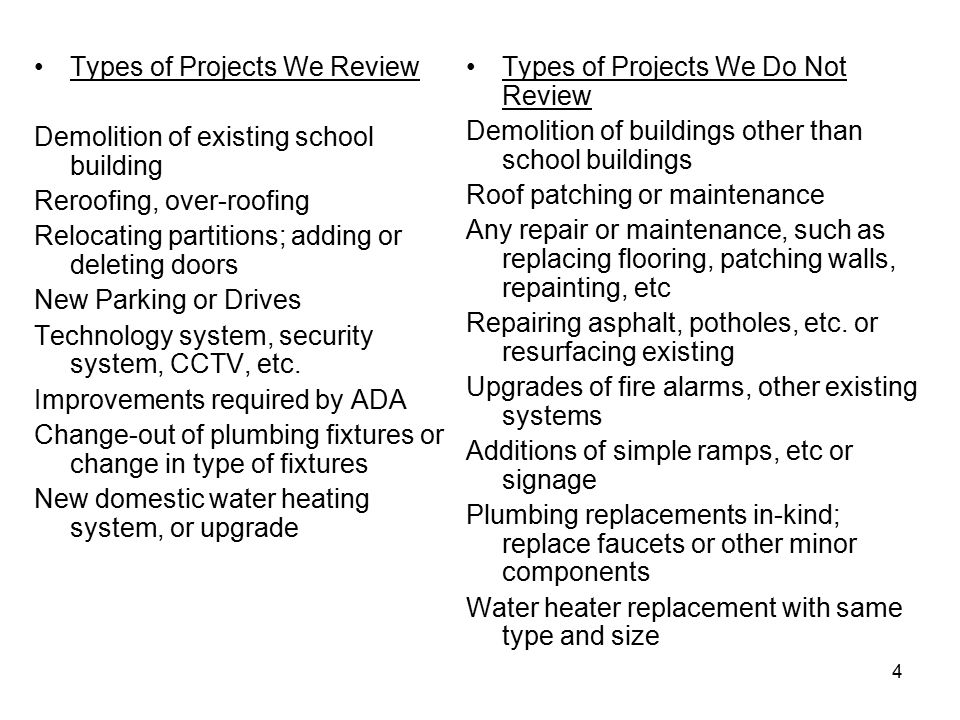 4 Types of Projects We Review Demolition of existing school building Reroofing, over-roofing Relocating partitions; adding or deleting doors New Parking or Drives Technology system, security system, CCTV, etc.
