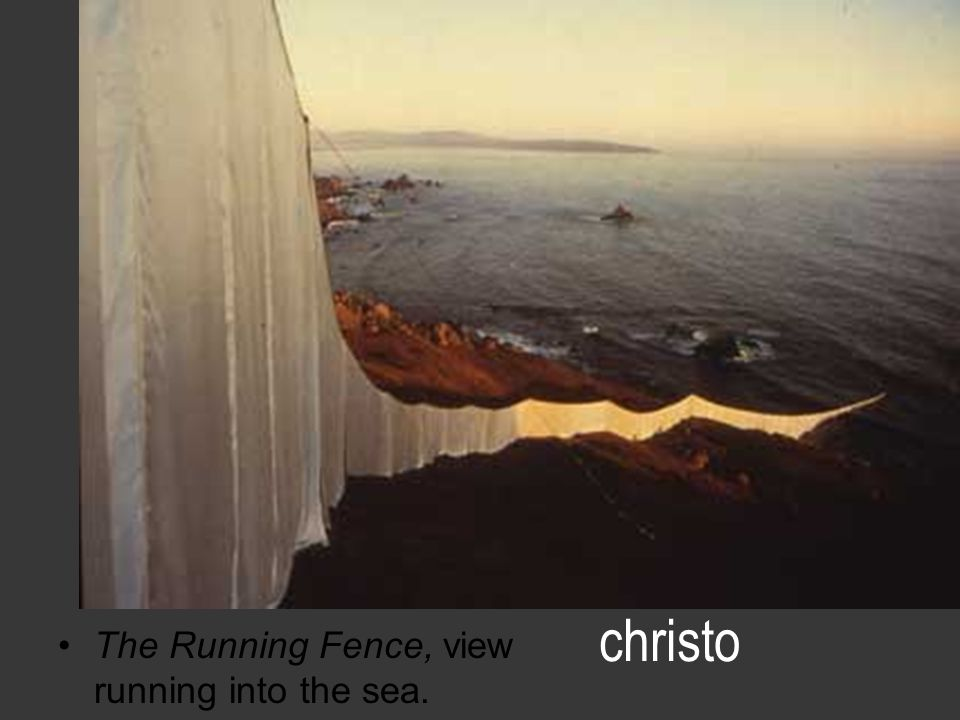 christo The Running Fence, view running into the sea.