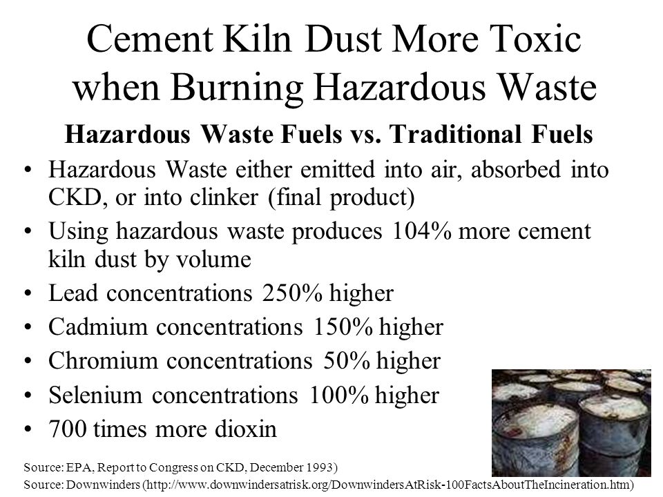 Cement Kiln Dust More Toxic when Burning Hazardous Waste Hazardous Waste Fuels vs. Traditional Fuels Hazardous Waste either emitted into air, absorbed