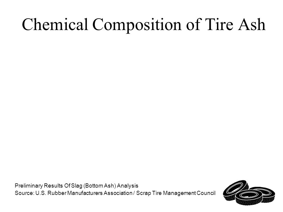 Chemical Composition of Tire Ash Preliminary Results Of Slag (Bottom Ash) Analysis Source: U.S.