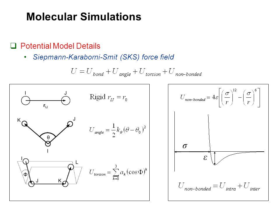 Molecular Simulations  Potential Model Details Siepmann-Karaborni-Smit (SKS) force field σ ε