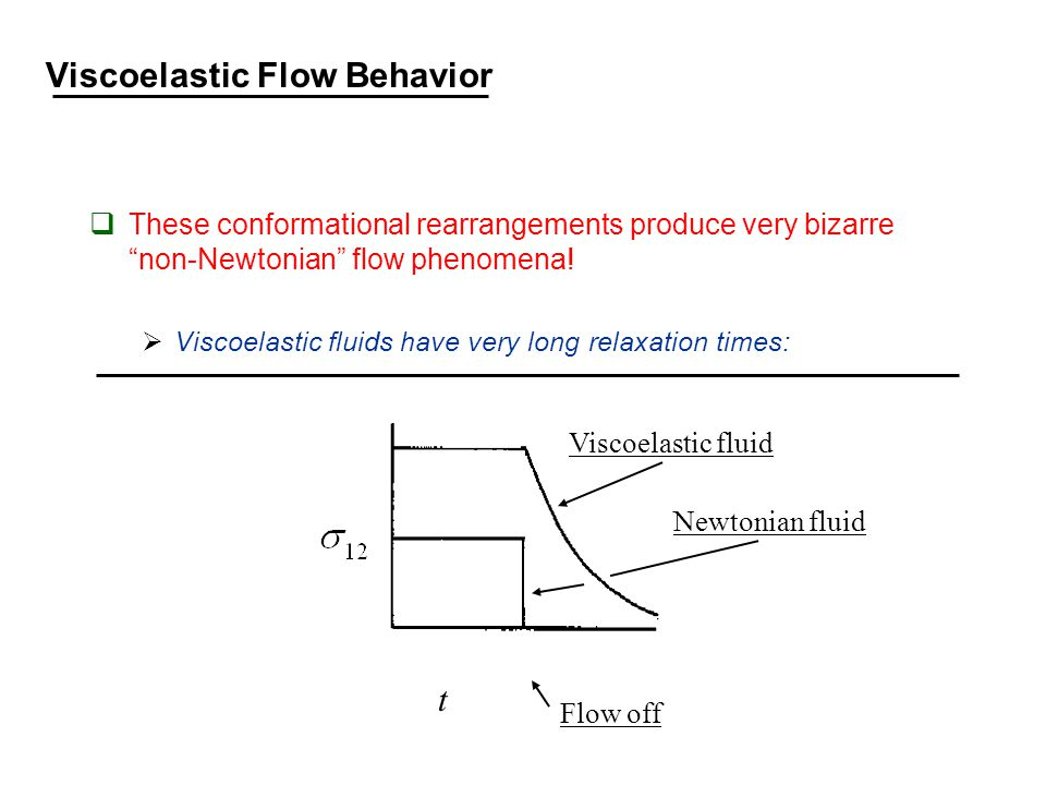 Viscoelastic Flow Behavior  These conformational rearrangements produce very bizarre non-Newtonian flow phenomena.