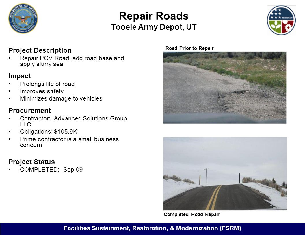 Repair Roads Tooele Army Depot, UT Project Description Repair POV Road, add road base and apply slurry seal Impact Prolongs life of road Improves safety Minimizes damage to vehicles Procurement Contractor: Advanced Solutions Group, LLC Obligations: $105.9K Prime contractor is a small business concern Project Status COMPLETED: Sep 09 Road Prior to Repair Completed Road Repair Facilities Sustainment, Restoration, & Modernization (FSRM)
