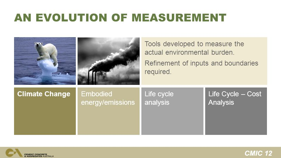CMIC 12 Life Cycle – Cost Analysis Life cycle analysis Tools developed to measure the actual environmental burden.