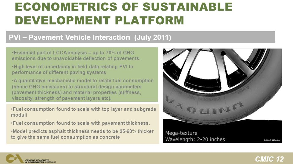 CMIC 12 SOCIAL ECONOMETRICS OF SUSTAINABLE DEVELOPMENT PLATFORM Essential part of LCCA analysis – up to 70% of GHG emissions due to unavoidable deflection of pavements.
