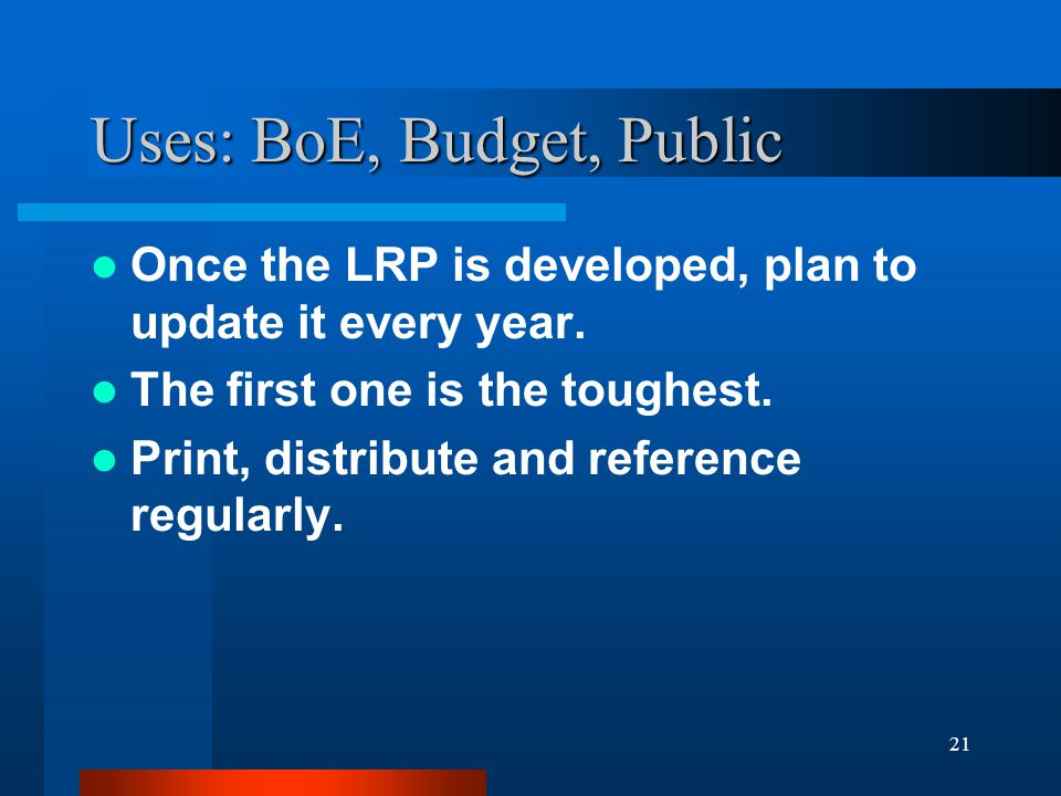 21 Uses: BoE, Budget, Public Once the LRP is developed, plan to update it every year.