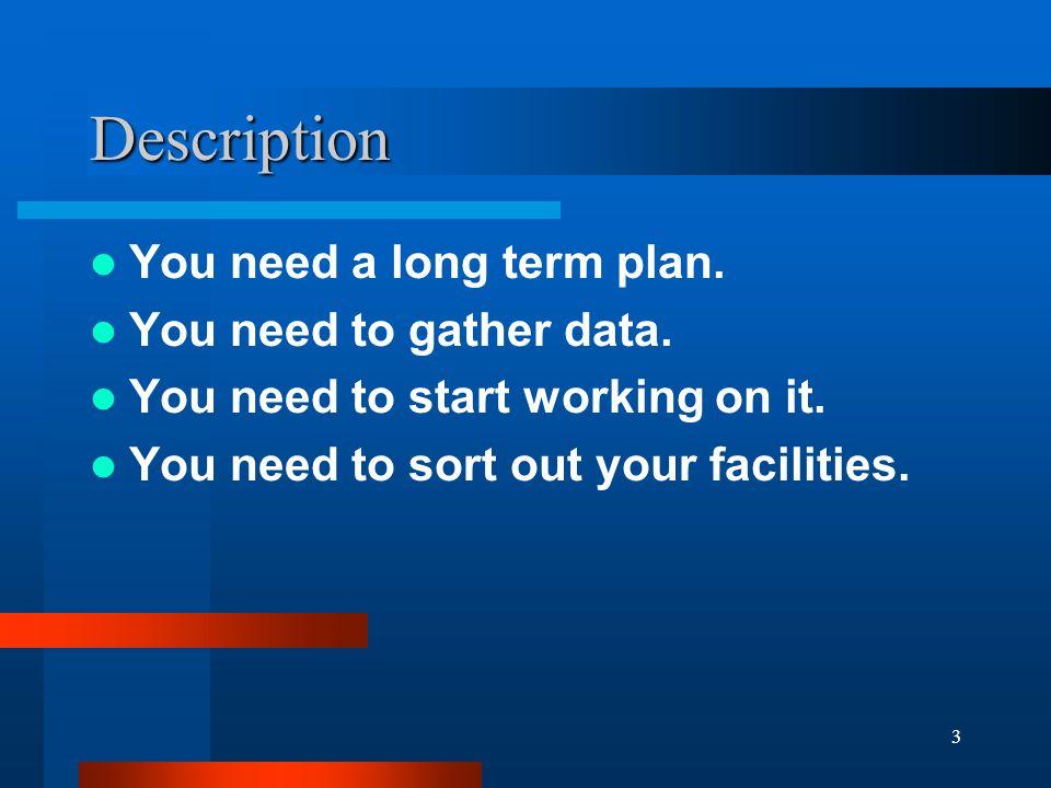3 Description You need a long term plan. You need to gather data.
