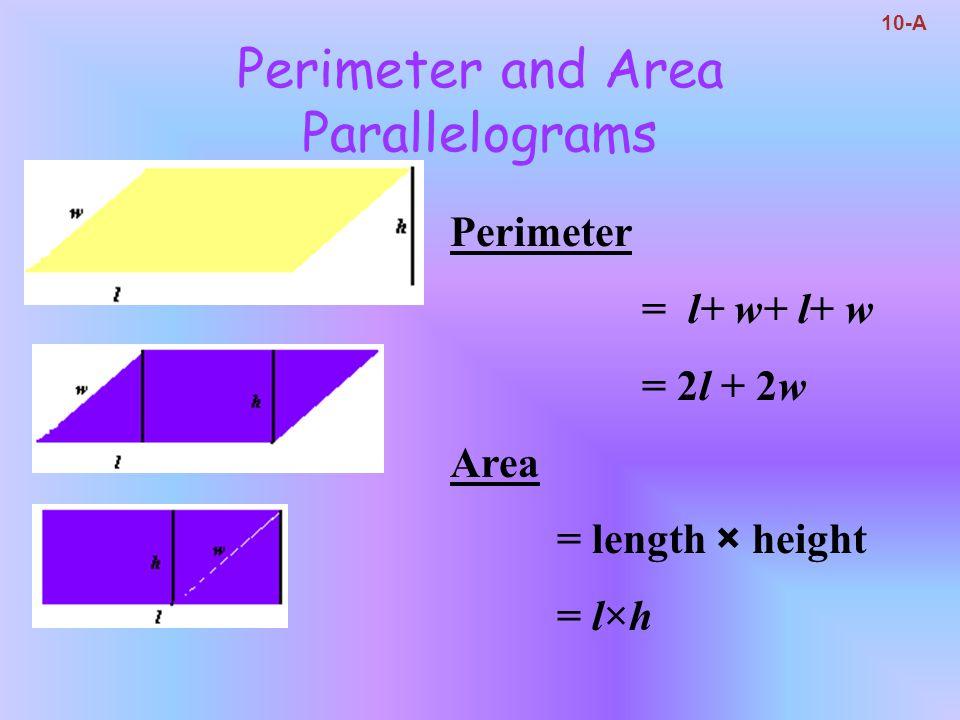 Perimeter and Area Circles 10-A Circumference(perimeter) = 2πr = πd Area = πr 2 π ≈ 3.14159…