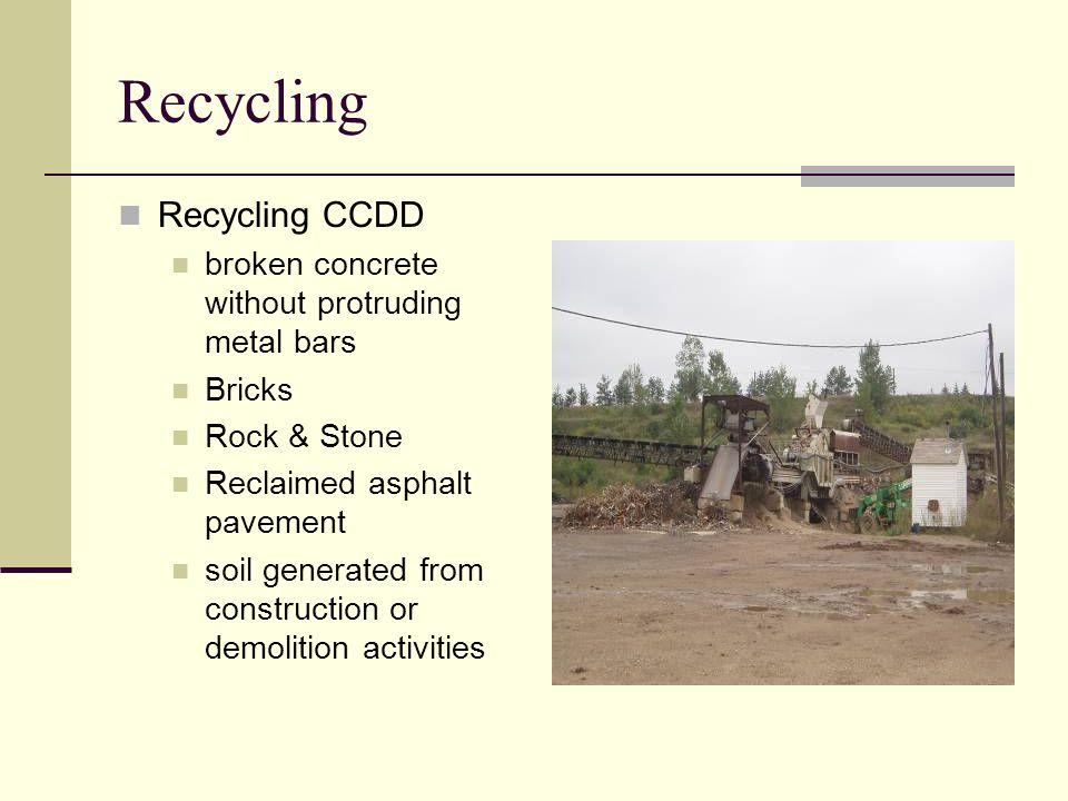 Recycling Recycling CCDD broken concrete without protruding metal bars Bricks Rock & Stone Reclaimed asphalt pavement soil generated from construction