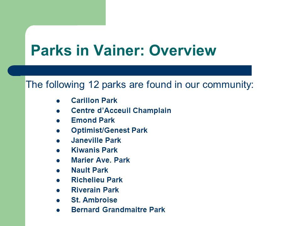 Parks in Vainer: Overview The following 12 parks are found in our community: Carillon Park Centre d'Acceuil Champlain Emond Park Optimist/Genest Park Janeville Park Kiwanis Park Marier Ave.