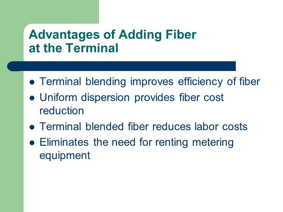 Advantages of Adding Fiber at the Terminal Terminal blending improves efficiency of fiber Uniform dispersion provides fiber cost reduction Terminal bl
