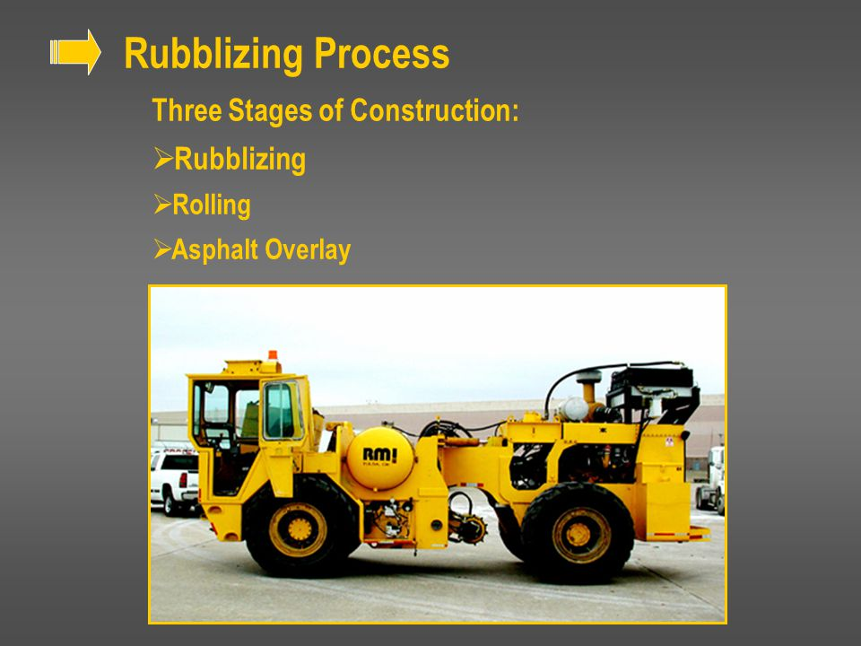 Rubblizing Process Three Stages of Construction:  Rubblizing  Rolling  Asphalt Overlay