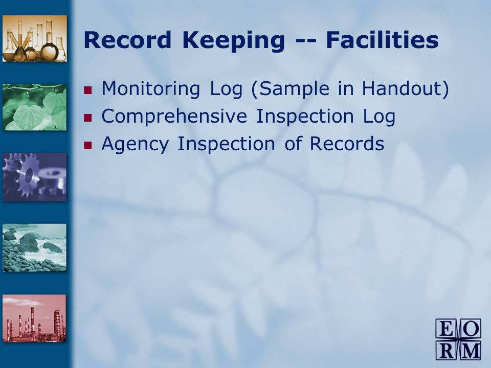 Record Keeping -- Facilities Monitoring Log (Sample in Handout) Comprehensive Inspection Log Agency Inspection of Records