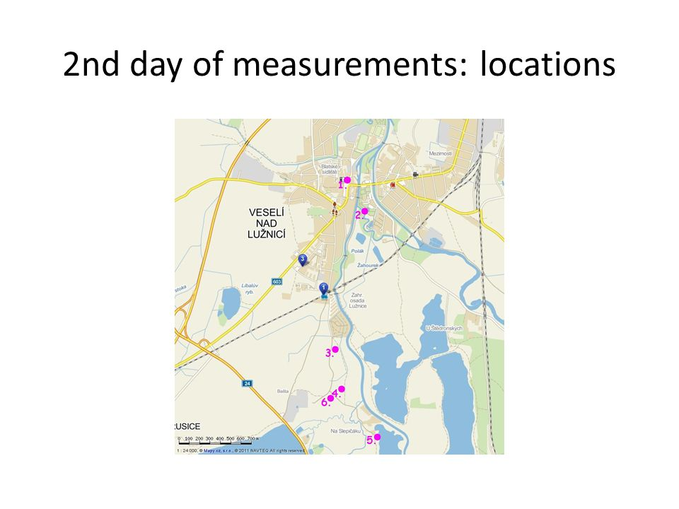 2nd day of measurements: locations
