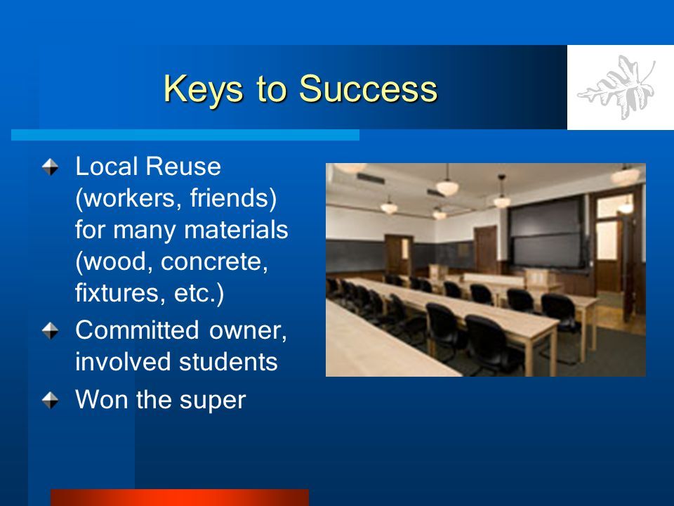 Keys to Success Local Reuse (workers, friends) for many materials (wood, concrete, fixtures, etc.) Committed owner, involved students Won the super