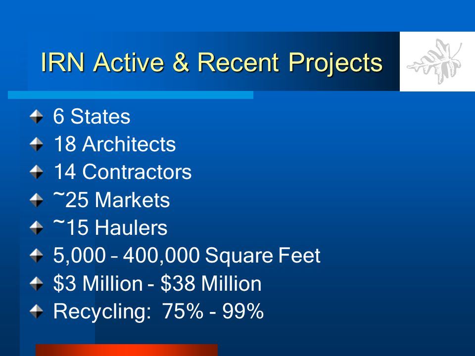 IRN Active & Recent Projects 6 States 18 Architects 14 Contractors ~25 Markets ~15 Haulers 5,000 – 400,000 Square Feet $3 Million - $38 Million Recycl
