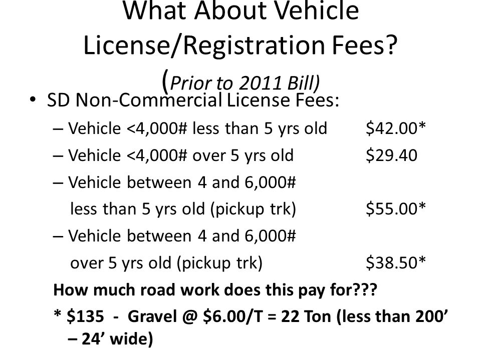 What About Vehicle License/Registration Fees.
