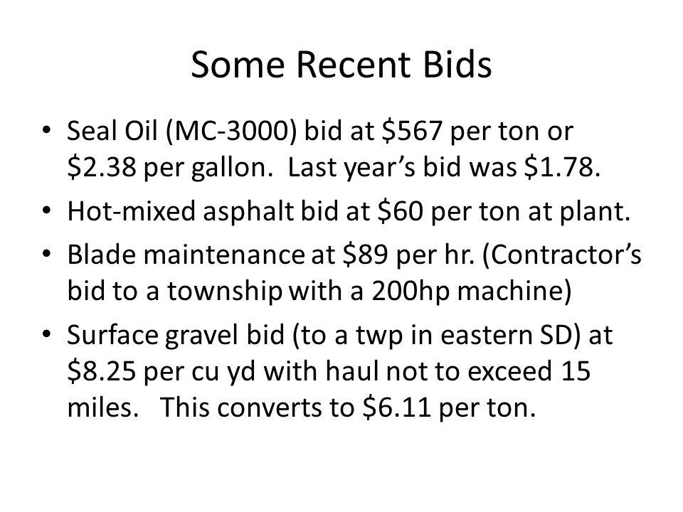 Some Recent Bids Seal Oil (MC-3000) bid at $567 per ton or $2.38 per gallon. Last year's bid was $1.78. Hot-mixed asphalt bid at $60 per ton at plant.