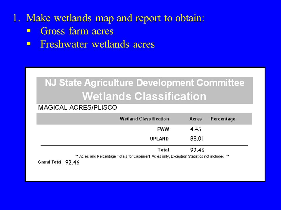 1.Make wetlands map and report to obtain:  Gross farm acres  Freshwater wetlands acres 4.45 88.01 92.46