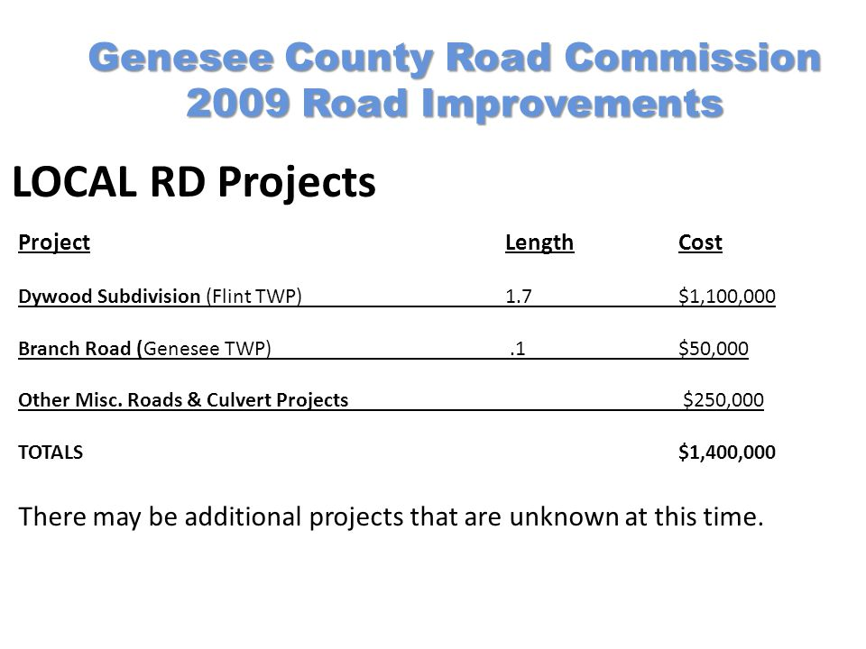 Genesee County Road Commission 2009 Road Improvements LOCAL RD Projects Project LengthCost Dywood Subdivision (Flint TWP)1.7$1,100,000 Branch Road (Genesee TWP).1$50,000 Other Misc.