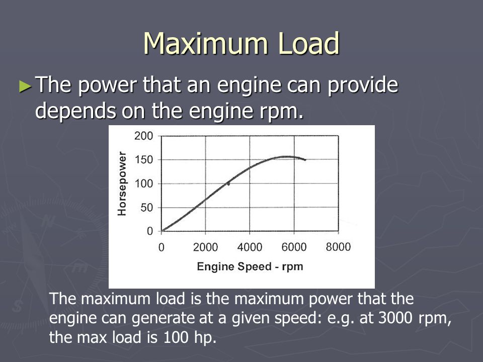 Maximum Load ► The power that an engine can provide depends on the engine rpm. The maximum load is the maximum power that the engine can generate at a