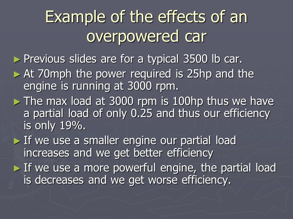 Example of the effects of an overpowered car ► Previous slides are for a typical 3500 lb car.