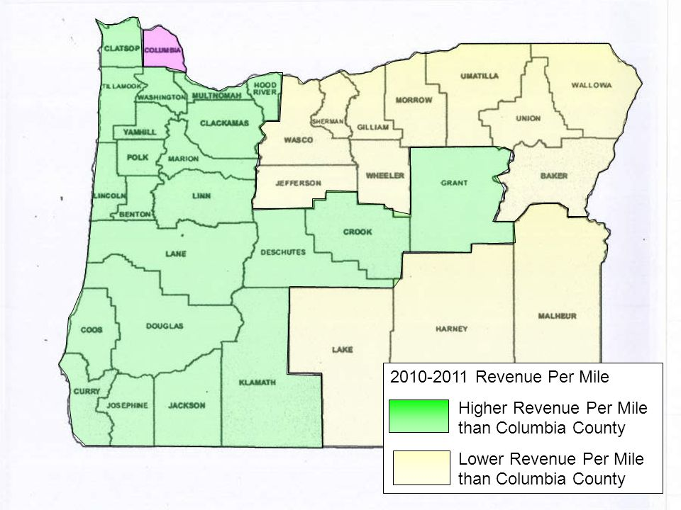 2010-2011 Revenue Per Mile Higher Revenue Per Mile than Columbia County Lower Revenue Per Mile than Columbia County