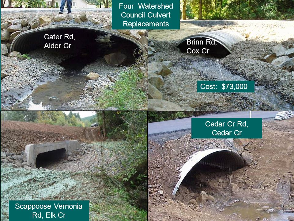 Brinn Rd, Cox Cr Four Watershed Council Culvert Replacements Cater Rd, Alder Cr Cedar Cr Rd, Cedar Cr Scappoose Vernonia Rd, Elk Cr Cost: $73,000